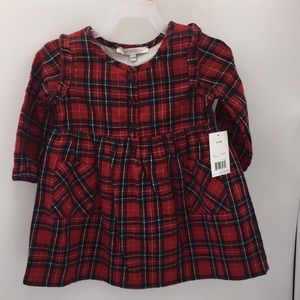 George Baby Girls Holiday Red Flannel Dress 12-18M